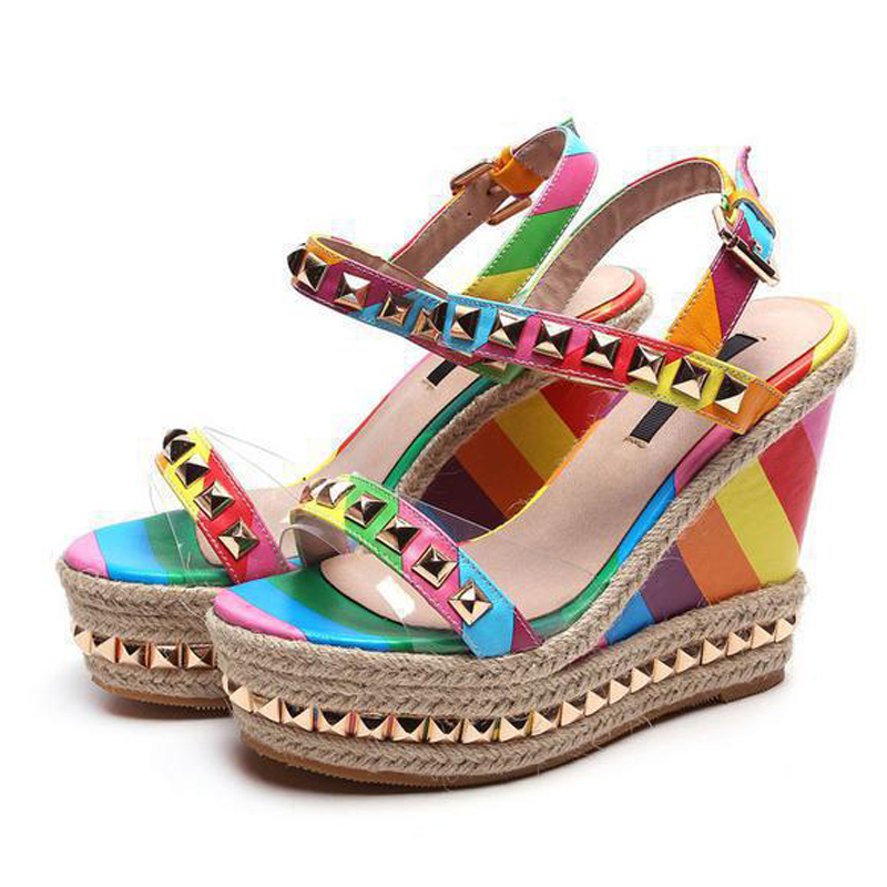 aad5ee2c1459 TIMETANG Wedge Sandals Rainbow Ethnic High Heeled Leather Shoes Women Fish  Head Rivet Party Sandals Girls Glitter Platform C196-in High Heels from  Shoes on ...