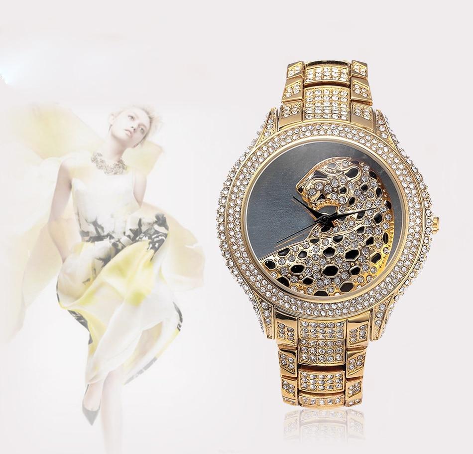 NOBDA Women's Watches Women Designer Luxury Leopard Diamonds Quartz Gold Watch Ladies Wrist Watch montre femme relogio feminino mance ladies brand designer watches