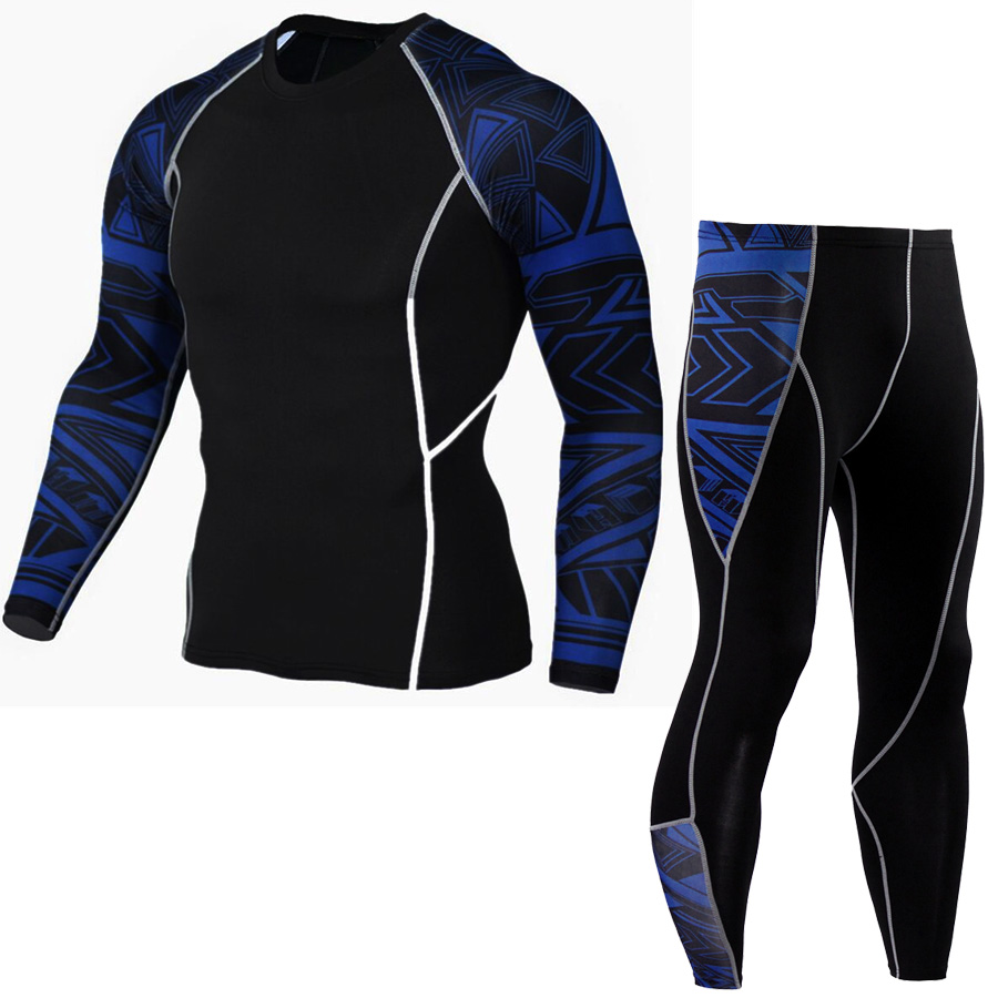 Long Sleeve Rash Guard Complete Graphic Compression Shorts Multi-use Fitness MMA Tops Shirts Men Suits 4