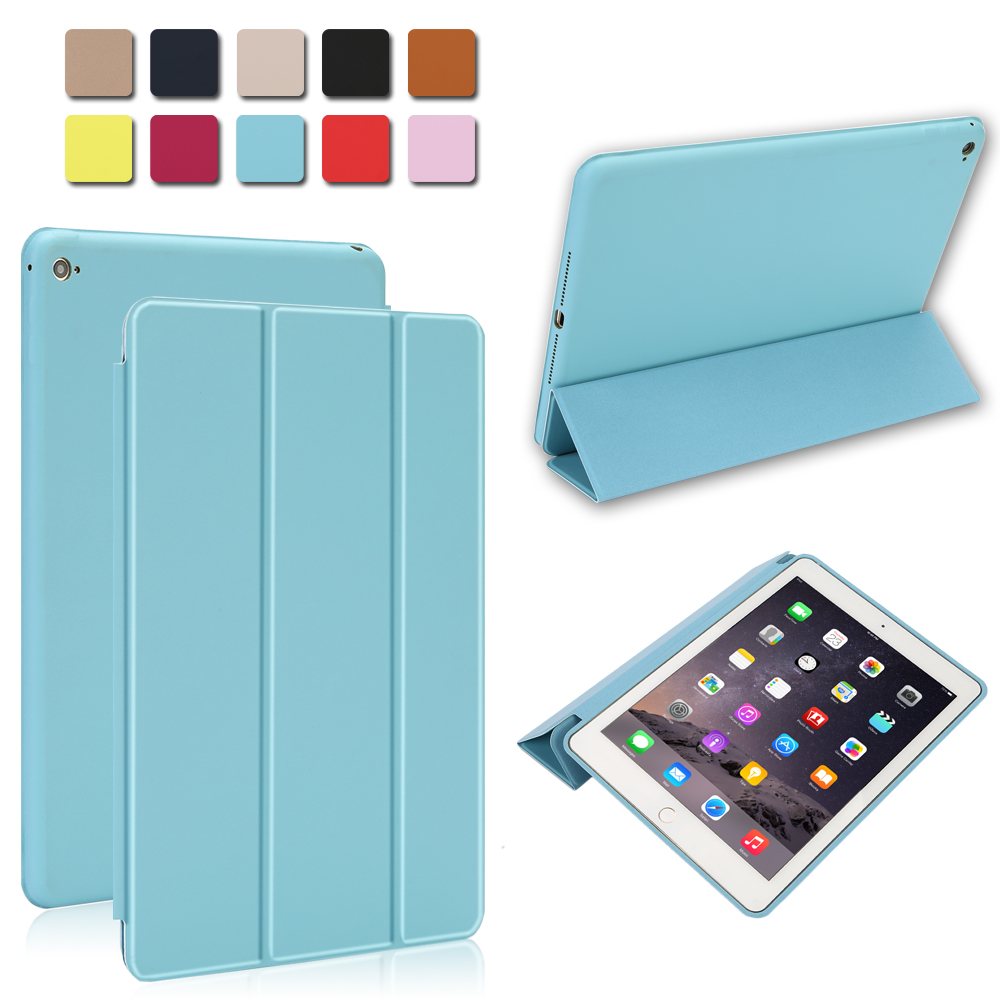 Magnetic Leather Smart Cover for Apple iPad Air 2 A1566 A1567 with Rubberized Back Case Auto Sleep/Wake Trifold Cover For iPad