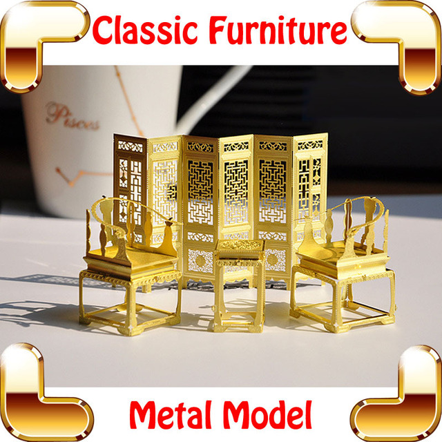 New DIY Gift Classic Chinese Furniture 3D Model Building Kits Metal Model  DIY Toys Tiny Handwork