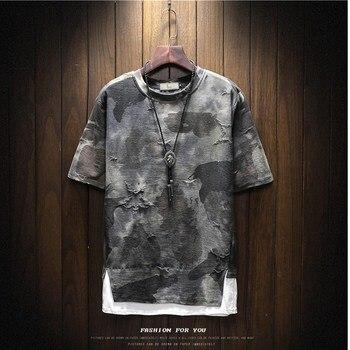 2018 été hommes nouveau faux deux hommes T-shirt Camouflage impression hommes T-shirt mode marée marque décontracté col rond homme T-shirt
