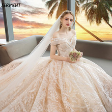 Wedding Lace Halter Princess Bride Word Shoulder Luxury Imported Trailing Dress 2019 New