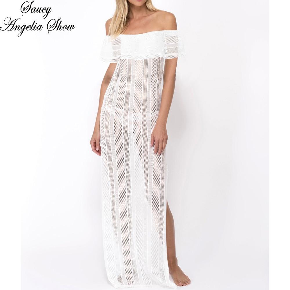 SAUCY ANGELIA/женское летнее платье 2018, сексуальное открытое белое прозрачное кружевное летнее платье Vestidos Femme, Длинные Макси платья для вечерино...