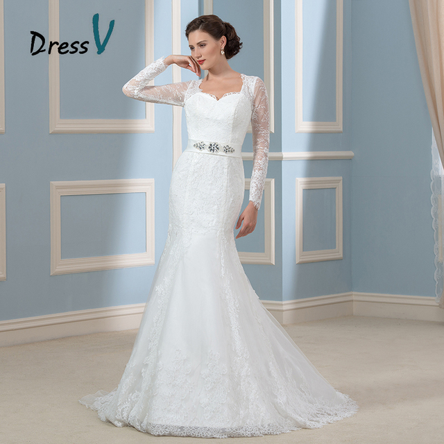 Dressv Gorgeous Long Sleeves Mermaid Wedding Dresses Lace Applique ...
