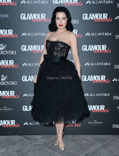 5a67512e59 Glamour Awards Dita Von Teese Tea Length Formal Gowns Black And Nude Corset  Evening Red Capet Dress