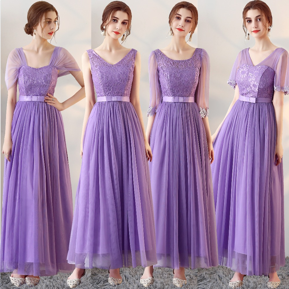 Light Purple Bridesmaid Dress A Line Half Sleeve