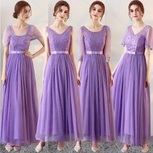 23d0746850 Światła Purpurowy Sukienka Druhna Linii połowa rękawem Graduation Balu Wedding  Party Suknie SW0025(China)