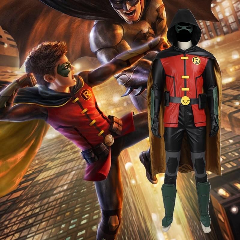 Batman Robin Cosplay Costume Justice League vs. Teen Titans Robin Costume Halloween Costume Superhero Sci-fi Costume Adult Men
