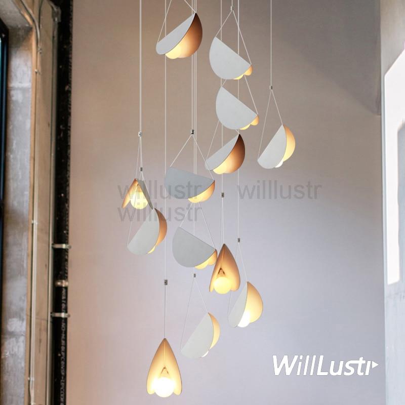 Image 2 - Flying Folded Paper Metal Origami Pendant Lamp Art Iron Suspension Light Cafe Dinning Room Restaurant Hotel Bar Hanging Lighting-in Pendant Lights from Lights & Lighting