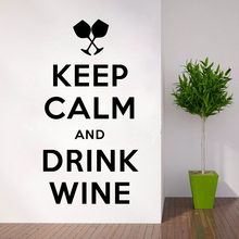 Home Decor Keep Calm and Dink Wine Quote Wall Stickers Bar Interior Design Collection Decals AY1043