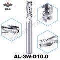 Грубая обработка ZCCCT AL-3W-D10.0 твердосплавная 3 Флейта  плоская Концевая мельница 10 мм с прямым хвостовиком и гофрированными краями