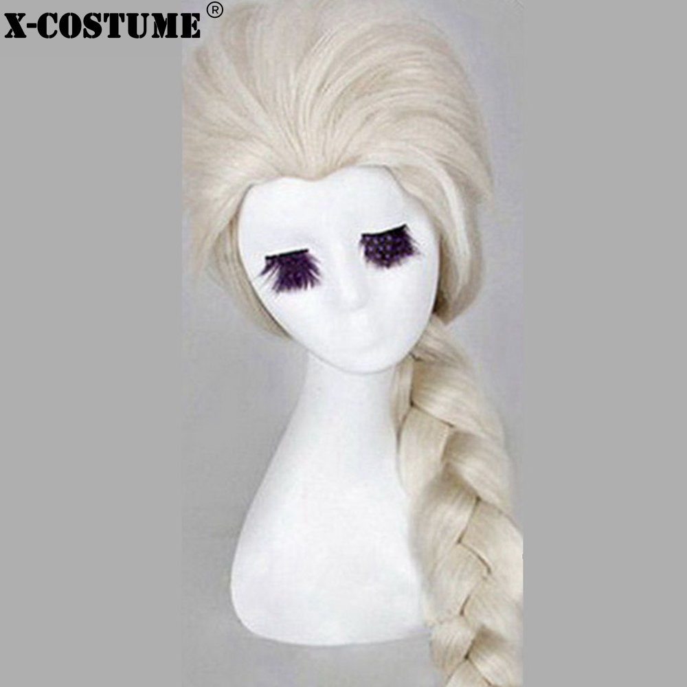 Elsa White Wig Cosplay Costume Accessories Women's Beautiful Twist Hair Headwear Halloween Christmas Festival Party Cosplay Wigs