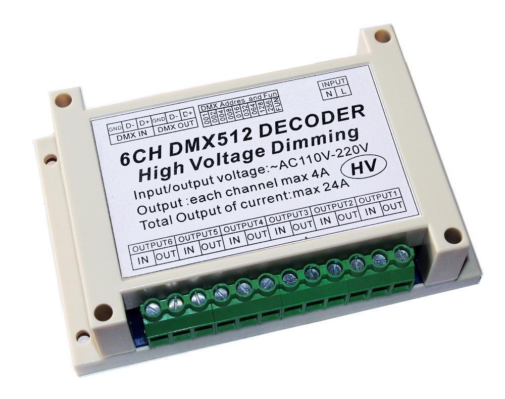 AC110V 220V High voltage dimming 6CH DMX512 Decoder 6 channels DMX 4A CH HV Decoder dimmer