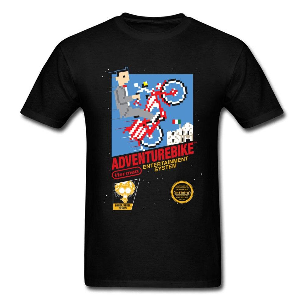 Приключения байкер футболка мужские черные Футболки одежда из 100% хлопка Геометрическая мультфильм футболка смешные футболки дизайнер