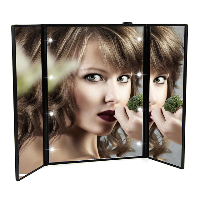 portable led touch screen vanity mirror folding table 8 led lights