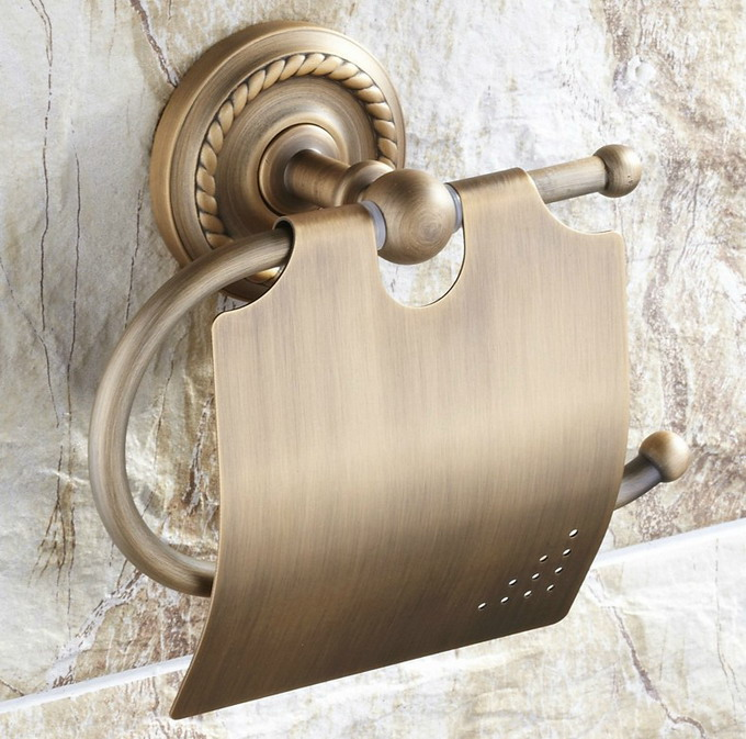 Vintage Retro Antique Brass Wall Mounted Bathroom Toilet Paper Roll Holder Bathroom Accessory Mba106