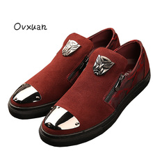 Ovxuan Genuine Leather Men Loafers Camouflage Zip Male Casual Street Flats Designer Men Shoes Fashion Party Men Dress Shoes 2018