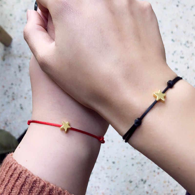 Rinhoo May Mắn Bạc Ngôi Sao Vàng Sợi Dây Màu Đỏ Vòng Tay Dành Cho Nữ Trẻ Em Có Thể Điều Chỉnh Dây Áo Ngực Vòng Tay Mẹ Con Gái Cặp Đôi Quà Tặng