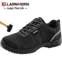 LARNMERN S1P Men Safety Shoes Steel Toe Anti-static Lightweight Breathable Construction Protective Footwear