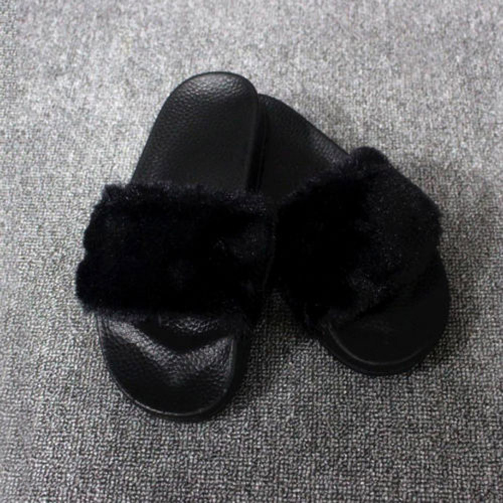 7b7599d2f317 Fashion Casual Womens Ladies Slip On Sliders Fluffy Faux Fur Flat Slipper  Flip Flop Sandal Solid Ladies Shoes-in Slippers from Shoes on  Aliexpress.com ...