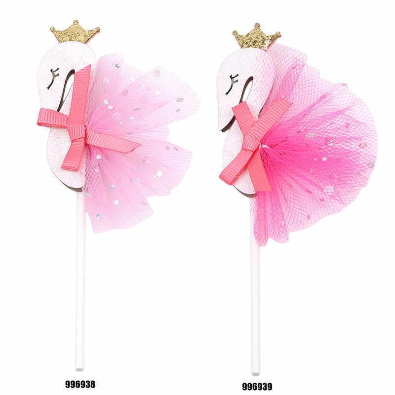 Coroa bling do Flamingo Swan Pena chapéus de Coco Do Queque Com Fio DIY Festa de Casamento Decoração de Bolos Topper Picaretas