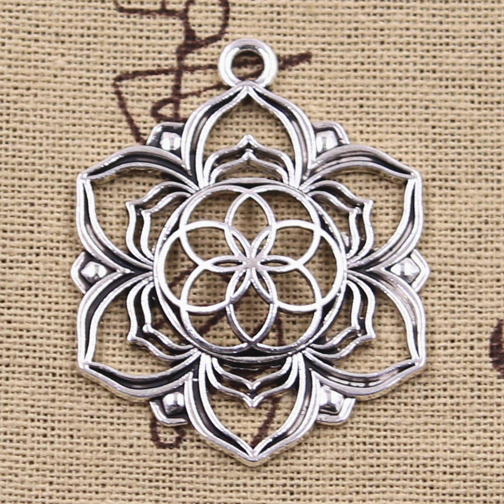 6pcs Charms Yoga Flower Of Life Datura stramonium 43x35mm Antique Silver Pendants DIY Crafts Making Findings Tibetan Jewelry