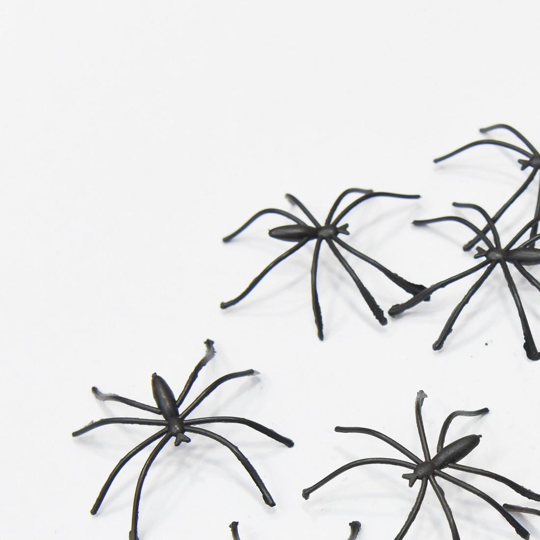Home Modern 20pcs 4cm Halloween Plastic Black Spider Realistic Prank Joking Toys home Decoration Cheap
