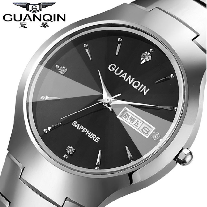 ФОТО Top Fashion Quartz Watch Guanqin Watches men luxury brand Tungsten Steel waterproof gold silver wristwatch relogio masculino