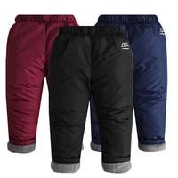 Winter Children Cotton Down Waterproof Ski Pants 2018 Boys Girls Warm Thick Plus Velvet Trousers for Kids Clothes Leggings W37