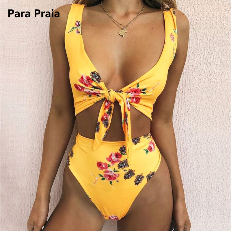 2018 Vintage Yellow Floral Print Swimwear Bow Tie Swimsuit -7390