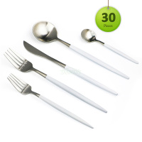 30Pcs Set Stainless Steel Silver Flatware White Innerware Set Knife Fork Spoon Dessert Fork TeaSpoon Cutlery