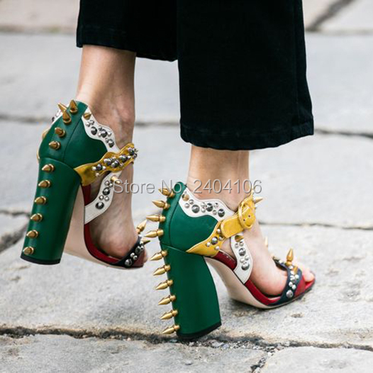 LTTL Brand Summer Malin Spike Leather Sandals Women High Heels Rivet Studded Shoes Woman Chunky Heel Colorblock Sandalias Mujer lttl bohemia print floral chunky heel sandalias female blue red prom wedding shoes woman ankle strap sequins rhinestone sandals