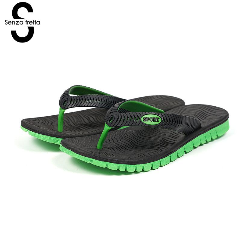 Senza Fretta New Summer Beach Flip Flops Slipper Casual Bump Color Non-slip Men Flip Flops Casual Wear Men Shoes Plus Size senza fretta men shoes flip flops beach sandals casual summer eva slippers shoes men casual non slip sandals flip flops shoes