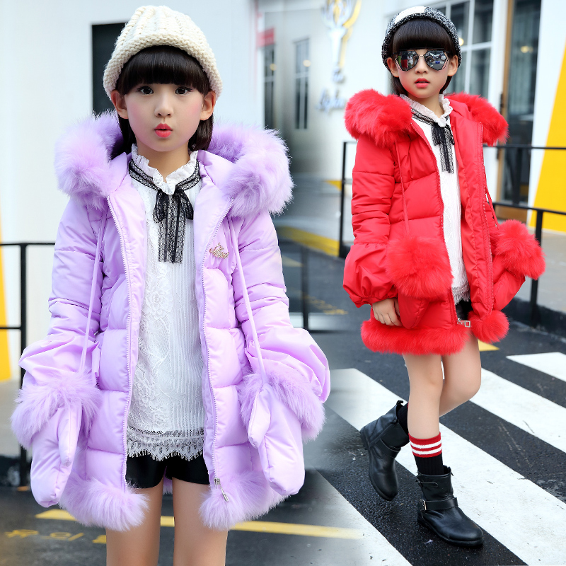 2018 Winter Girls Fur Splicing Long Cotton-Padded Clothes Coat Female Kids Wadded Jacket Kids Thickening Outerwear Parkas A111 2017 new winter women wadded jacket outerwear plus size hooded loose thickening casual cotton wadded coat parkas student ws299
