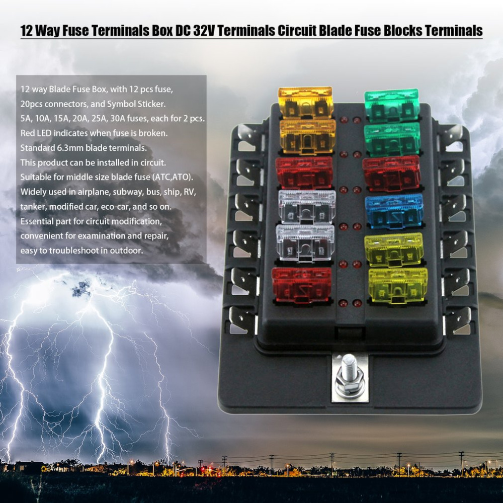 HTB1MiO_SFXXXXXzaXXXq6xXFXXXM 12 way fuse terminals box dc 32v terminals circuit car auto blade fuse box for rv at gsmx.co