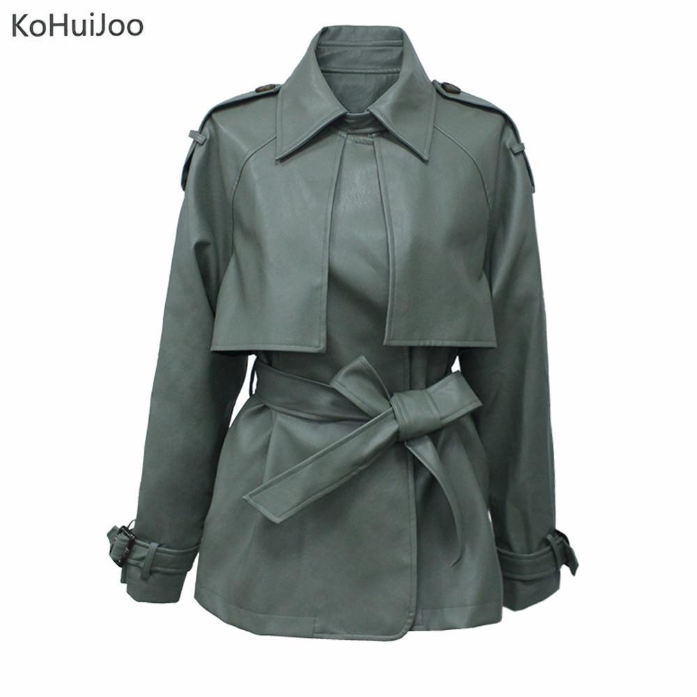KoHuiJoo Women Faux   Leather   Jacket Plus Size Belted Fashion Lapel Motorcycle   Leather   Jackets Long Sleeve PU Coat Green Yellow
