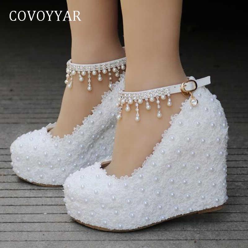 Covoyyar 2019 Bridal Wedding Shoes Women Wedge Shoes Pearl Beaded