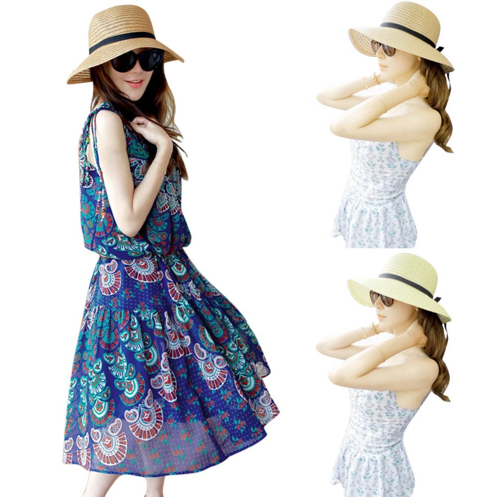 2018 Women Wide Brim Summer Sun Hat With Bowknot Floppy Beach Bohemian Sun Hats Straw Hats for Lady Panama Beach Sun Hat Chapeu