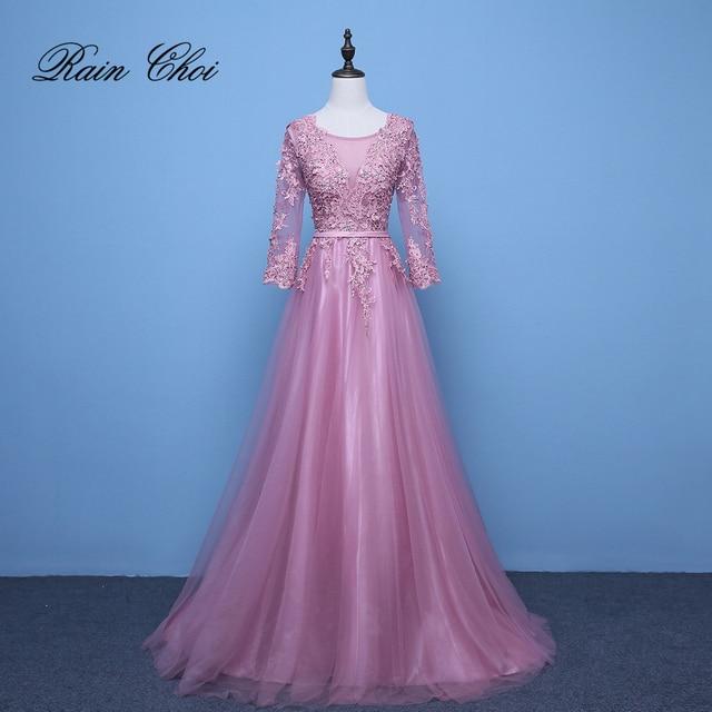 2020 Evening Dresses 3/4 Sleeves Appliques Silver Formal Gown Long Evening Party Dress vestido de festa 3