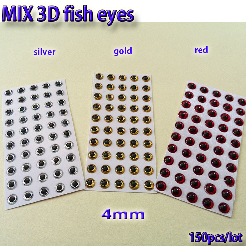 2017MIX fishing lure eyes fly fishing fish eyes fly tying material lure baits making silver gold red mix toatl 150pcs lot in Fishing Lures from Sports Entertainment
