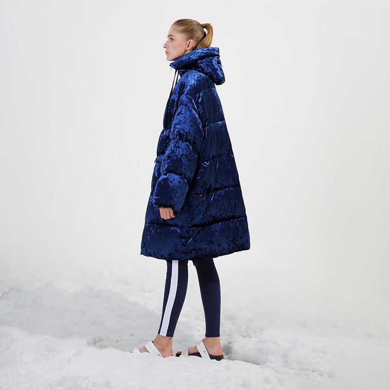 Conception originale 2018 à capuchon occasionnel longue surdimensionné épais chaud femmes d'hiver manteau velours blanc duvet de canard veste
