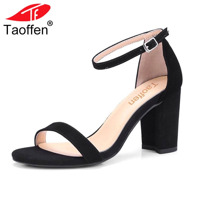 TAOFFEN Size 32-42 Vintage Women Real Genuine Leather High Heel Sandals Ankle Strap Open Toe Solid Color Thick Heel Sandals taoffen women high heel sandals open toe pleated concise slippers solid color shoes women footwear summer party size 34 39