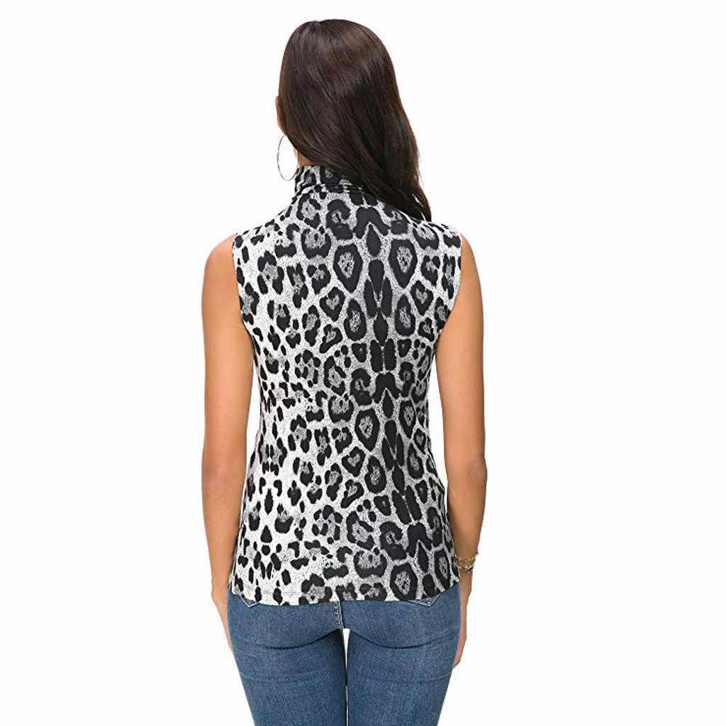 Leopard Printed Tank Top Women Summer 2019 Sleeveless Printed Slim Fit Turtleneck Summer Tops For Women chemise femme