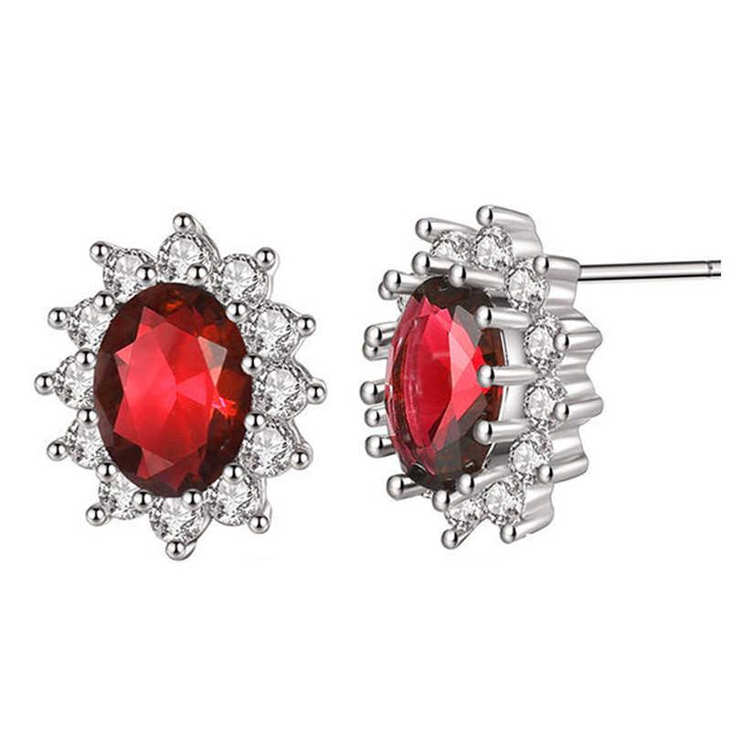 LXOEN Mode Blau Oval Zirkon Ohrringe für Frauen Präsentieren Geschenk Rot Kristall Bijoux für Mädchen Ohrringe Ohrringe Kleine Ohrringe