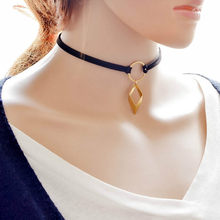 2016 New Trend Hot Fashion Black Leather Choker Necklace Wrap Gold Colour Geometry With Rhombus Pendant For Women Girls(China)
