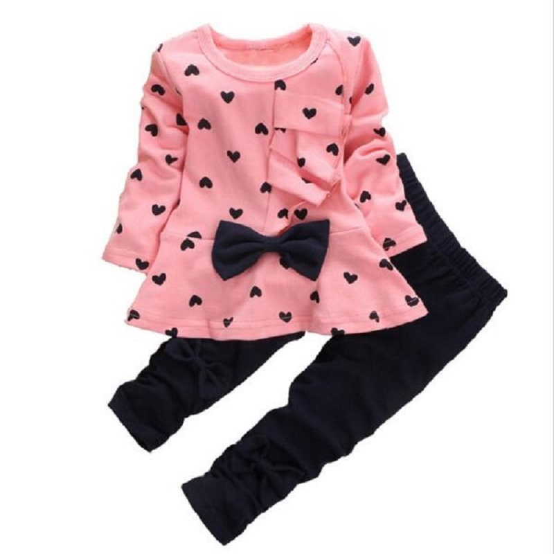 2017 new Spring Autumn Cotton children girls clothing sets Cute Dot clothes bow tops t shirt leggings pants baby kids 2pcs suit brand new spring autumn girls clothing t shirt long sleeves red black children cute long t shirt school shirt top tees gh048