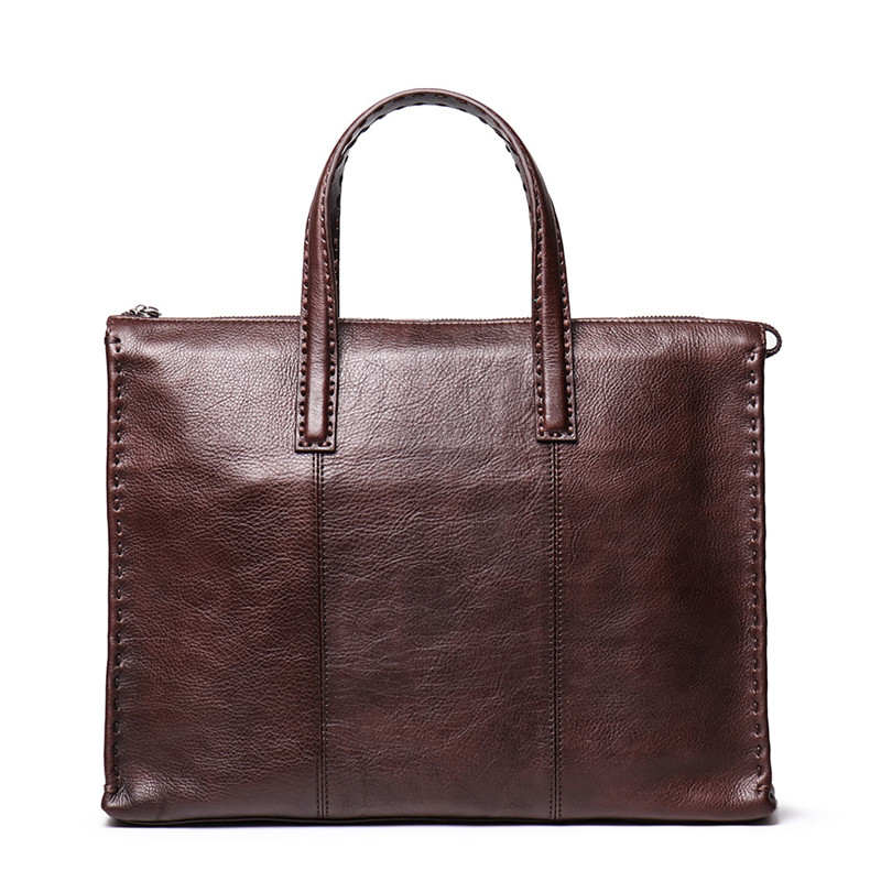 Nesitu High Quality Brown Coffee A4 Full Grain Genuine Leather 14'' Laptop Office Men Briefcase Portfolio Messenger Bag M9271