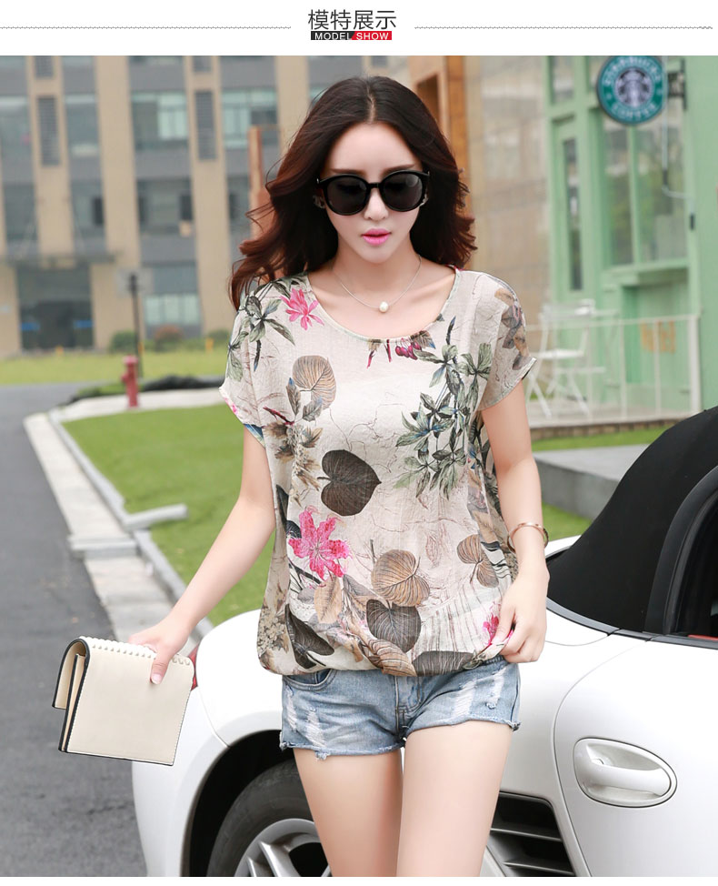 HTB1MiP LVXXXXX6XpXXq6xXFXXXD - Floral Print Blouse Cotton Linen Women Shirts Summer Ladies Tops