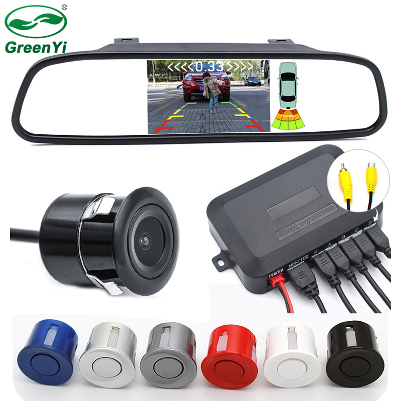 GreenYi 3in1 Car Video Parking Sensor Assistance The 4 3 Inch Mirror Monitor Connect to Rear